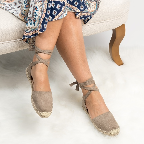 Lace Up Espadrille Flats Clay